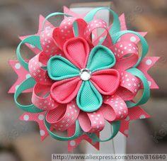 """2 unids/lote nueva 4 """" cinta del grosgrain Blooming kanzashi pelo de la flor clip con el diamante centro, bebé Daisy pelo de la flor naranja 5061"""