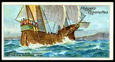 """Player's Cigarettes """"Polar Exploration"""" (A series of 25 cards issued in 1914) #21 John Cabot's voyage in search of a North-West Passage, 1497"""