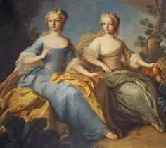 Marie-Josepha (Age 8) and younger sister Maria Antonia (Age 4), future Marie Antoinette, 1759, by Benevault Pierre. Benevault went to Vienna in 1752 as official court painter and in 1759 he did some portraits of Marie Therese's children for her Belvedere Palace. With this work, the painter brought a bit of French style to the Vienese Court: he painted the two younger sisters in a impersonal atmosphere that didn't like too much to Marie-Therese. The Empress prefered more realistic portraits