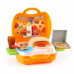 Kids' Cooking Kits - Durable Kids Pizzeria Kit With Brick Oven Toy Pizza Condiments and Utentils packed in a Sturdy Gift Case by Kinder Toys -- Want to know more, click on the image.
