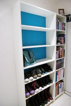 Shoe bookcase for shoe storage dream closet pinterest for Ikea blue billy bookcase