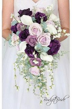 Dusty rose and plum wedding flowers for the cascading bridal bouquet with real touch white calla lilies and white cherry blossoms Plum Wedding Flowers, Wisteria Wedding, Cherry Blossom Wedding, Bridal Flowers, Flower Bouquet Wedding, Floral Wedding, Cherry Blossoms, Plum Wedding Decor, Purple Flower Bouquet