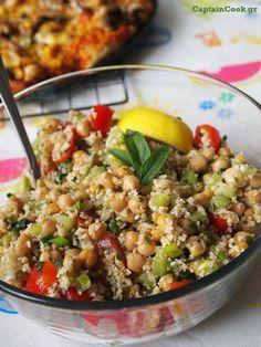Σαλάτα με Πλιγούρι και Ρεβίθια Fried Rice, Risotto, Salads, Cooking Recipes, Diet, Ethnic Recipes, Food, Party Ideas, Bulgur