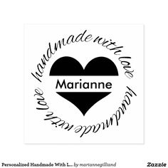 Personalized Handmade With Love Heart Rubber Stamp