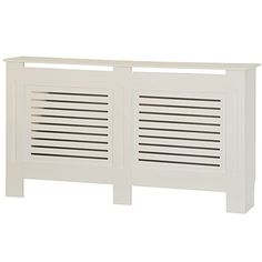 Home Discount Milton Radiator Cover Modern White Painted MDF Cabinet, Large
