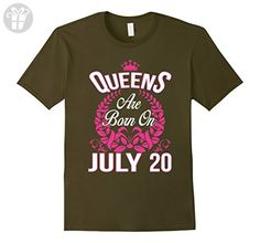 Mens Queens Are Born On July 20 Funny Birthday T-Shirt Medium Olive - Birthday shirts (*Amazon Partner-Link)