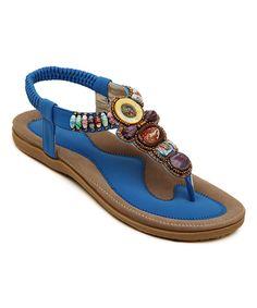 Blue Beaded Leather Sandal