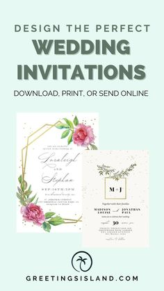 Impress your wedding guests with beautiful custom invitations from Greetings Island! You can customize your invitations, download, print, and even send them online! With numerous templates to choose from, you'll find the perfect wedding invitations for your big day. Start browsing today! #custominvitations #custominvites