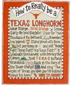 "University Co-op - ""How To Really Be A Texas Longhorn"" Beaded Hanger Canvas Texas Longhorns Football, Ut Longhorns, Dallas Cowboys, Eyes Of Texas, Hook Em Horns, Texas Forever, Loving Texas, Texas Pride, University Of Texas"