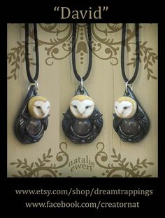 David the Barn Owl Sculpted Pendant Polymer Clay by dreamtrappings