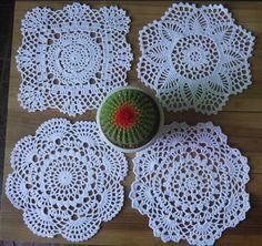 24Piece Handmade Crocheted Doilies pattern 4 designs coasters round Mat&Pad 20cm #Handmade Crochet Doilies, Hand Crochet, Logo Mugs, Cup Mat, Table Covers, Elsa, Crochet Earrings, Applique, Flowers