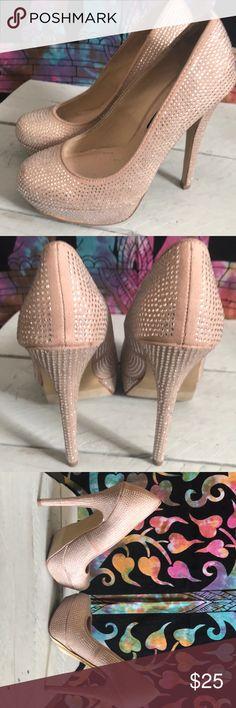 New Worn Once Betseyville Sparkle Nude Heels 5 1/2 Like New Worn Once Inside for two hours Betseyville Sparkle Nude Heels in 5 1/2 Betsey Johnson Shoes Heels