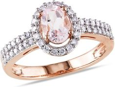 1 1/10 Carat Morganite and Diamond 10K Pink Gold Ring