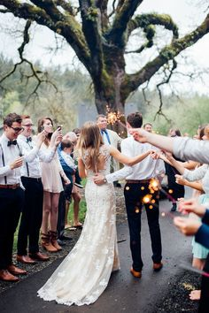 Sparklers love this more than throwing rice. A nice package with the wedding date and a small lighter could be given before the ceremony.