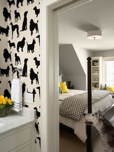 Love this black and white wallpaper with a pop of yellow as an accent color.  The dog is pretty cute too! :)