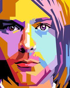 Pop Art Drawing, Art Drawings, Kurt Cobain Painting, Kurt Cobain Art, Poster Stranger Things, Cuadros Pop Art, Caricature, Pop Art Face, Pop Art Portraits