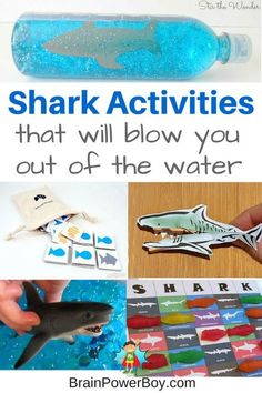 Super Shark Activities that are great for Shark Week or any time. Shark games, sensory shark ideas, shark lacing card, and more.