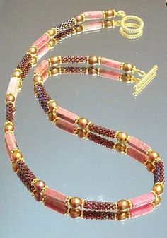 Rhodonite and Beaded Bead Necklace by ambrosianbeads, via Flickr