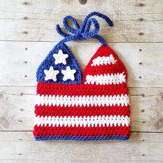 Crochet 4th of July American Flag Halter Top Tank Top Baby Infant Toddler Child Independence Day Photography Photo Prop Handmade
