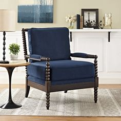 The Modway Revel Upholstered Fabric Armchair will add a note of sophistication to your setting. This armchair features a sturdy wood frame with a rich. Spindle Chair, Wood Arm Chair, Upholstered Arm Chair, Chair Cushions, Blue Velvet Fabric, Blue Accent Chairs, Patterned Armchair, Fabric Armchairs, Small Armchairs
