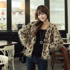 CLICK  Leopard Print Knit Cardigan