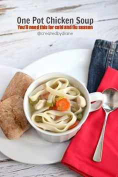 20 minutes is all you need to a DELICIOUS one pot chicken noodle soup. A must have recipe for cold and flu season. PRINT THIS NOW! Freezer Soup Recipe