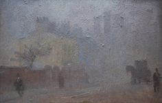 Manchester Street in Fog, United Kingdom, 1909, by Adolphe Valette.