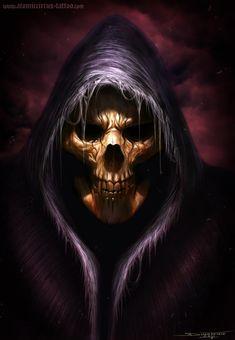Death redone by AtomiccircuS on DeviantArt Death Reaper, Grim Reaper Art, Grim Reaper Tattoo, Tatto Ink, Totenkopf Tattoos, Gothic Fantasy Art, Skull Artwork, Dark Images, Arte Obscura