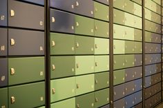 London | Westgate Apartments | Multiple mailboxes | Colourful pigeon holes postboxes