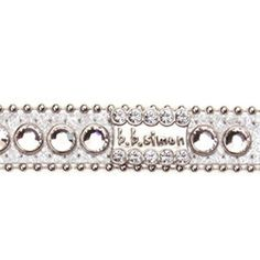BB Simon Dog Collar - Silver with Clear Crystals.................available at http://doggyinwonderland.com/item_2323/BB-Simon-Dog-Collar--Silver-with-Clear-Crystals.htm