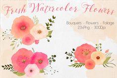 Watercolor Fresh Flowers by Lizamperini on Creative Market
