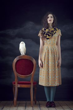 Banjo Dress in Copper Owl, Medium Scarf in Devore Owl.  Available from September 2012.  View the full collection:  http://www.charlottetaylorltd.com/#gallery_18    #charlottetaylor