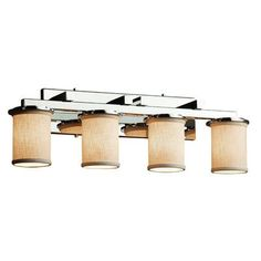 Justice Design Group Textile Dakota 4 Light Vanity Light Finish: Polished Chrome, Shade Color: White