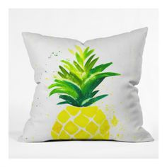 In Laura Trevey's watercolor design, the colorful Pineapple Sunshine throw pillow will add a pop of color to your space. 4 sizes with free shipping!