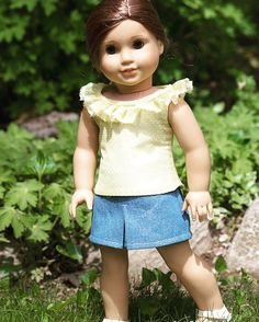 Demin Leesburg Mini and Country Diva Top. Made with patterns by OriginalsbyGaby and Forever 18 Inches, found at https://www.pixiefaire.com/collections/18-inch-doll-skirt-patterns/products/leesburg-mini-skirt-18-doll-clothes. #Leesburgmini  #pixiefaire