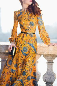Maxi Long Sleeve Floral Swing Dress - GOLDEN XL