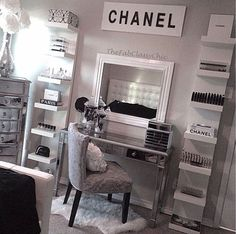 CHANEL relived. Get inspired & see more amazing Beauty Room Designs at http://thebeautyroom.abeautyfulworld.com/.: