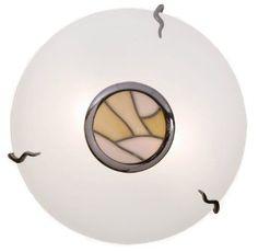 Tiffany Flush Ceiling Light White / Beige Glass:  unobtrusive but stylish Hall light £40
