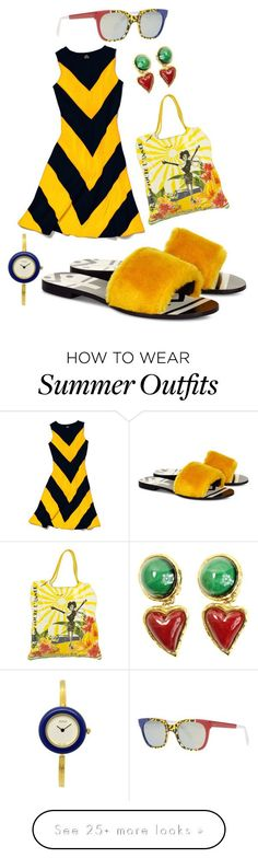 "Collection Of Summer Styles    ""#YellowOutfit"" by jeauhall on Polyvore featuring Avec Modération, Slater Zorn, Lanvin, Christian Lacroix, Gucci, Sheriff&Cherry and yellowoutfit    - #Outfits"