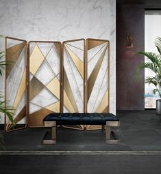 eattral Folding Screen is a majestic furniture piece that will deliver a final sophisticated touch to any luxurious home decor. Se Luxury dining room – home décor – interior design project – contemporary décor – modern style Metal Furniture, Furniture Design, Wall Partition Design, Room Divider Screen, 3d Wall Decor, Contemporary Furniture, Modern Contemporary, Luxury Dining Room, Luxury Furniture Brands