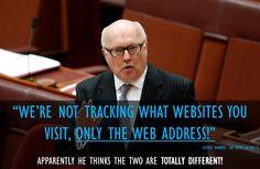 George Brandis explains, or tries to explain, his mandatory tracking of internet traffic.  He's clueless! #auspol pic.twitter.com/PRg8Xj53z7 #TeamAustralia