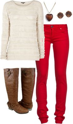 """""""Red pants w/ brown"""" by cguerra3 on Polyvore"""