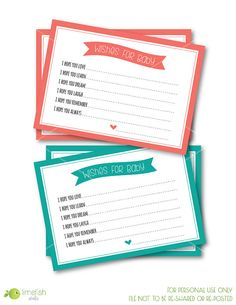 PRINTABLE Wishes for Baby Cards / INSTANT Download / Baby Shower Ideas