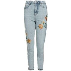 Topshop Moto Fall Floral Embroidered Mom Jeans ($75) ❤ liked on Polyvore featuring jeans, topshop, pants, blue jeans, high rise jeans, high-waisted jeans, blue high waisted jeans and cuff jeans