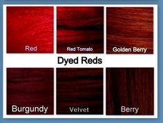 Burgundy vs Garnet Color Chart | ... Red Tomato, GB - Golden Berry, BUR - Burgundy, V - Velvet, B - Berry