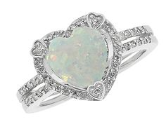 October Birthstone Checkerboard Opal Heart Silver Ring Available Exclusively at Gemologica.com Opal Gemstone October Birthstone Ring Jewelry