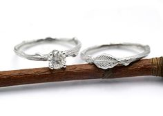 Bridal set, twig wedding and engagement ring. This is very original!