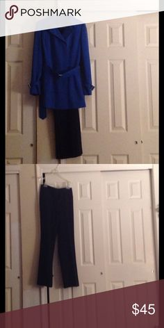 Anne Klein Pant Suit Two piece suit with a beautiful sapphire blue jacket with belt-buckles on each cuff, a removable belted waist and hidden buttons.  The pants are basic black wide leg with front  zipper and pockets. Anne Klein Jackets & Coats Blazers