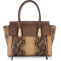 Henri Bendel A-List Snake Flap Satchel featuring polyvore, fashion, bags, handbags, taupe, brown purse, real leather handbags, brown handbags, color block handbags and taupe leather handbag
