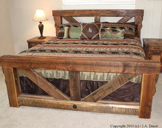 timber trestle bed rustic bed reclaimed and weathered wood bed barnwood bed frame solid wood queen or king sized bed frame - Reclaimed Wood Bed Frame